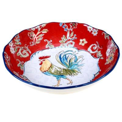 Morning Bloom 13 in. Multicolored Serving/Pasta Bowl