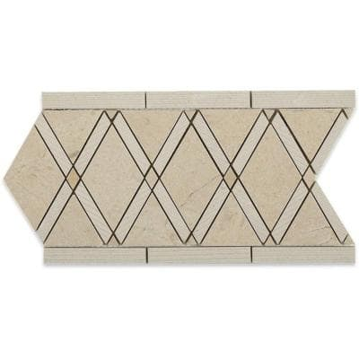 Grand Textured Crema Marfil Border 6 in. x 12 in. x 10 mm Polished Marble Floor and Wall Tile