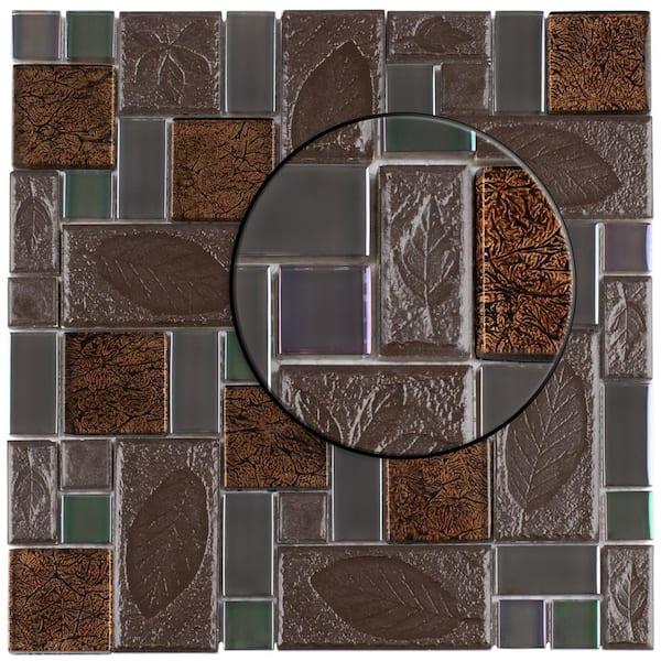 Merola Tile Take Home Sample Garden Versailles Walnut 6 In X Glass Ceramic S1gdxgvswn The Depot