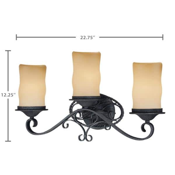 Volume Lighting Sevilla 3 Light Indoor Antique Wrought Iron Bath Vanity Wall Mount W Candle Shaped Sandstone Glass Shades V4583 36 The Home Depot