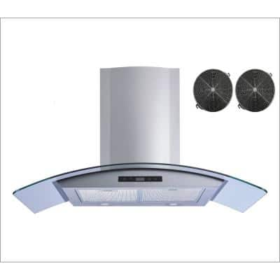 36 in. 520 CFM Convertible Glass Wall Mount Range Hood in Stainless Steel with Mesh and Charcoal Filters, Touch Control
