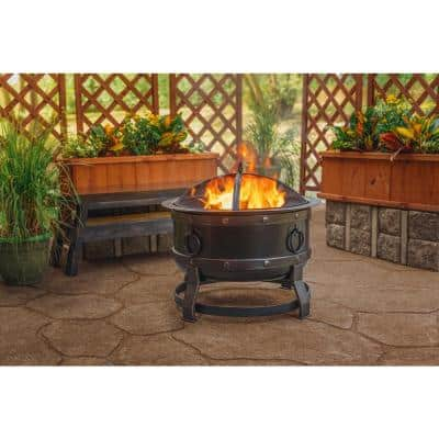 Killian 28 in. Round Steel Fire Pit in Rubbed Bronze with Cooking Grid