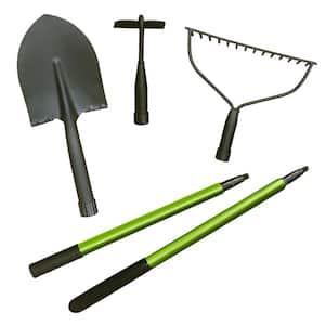 3-In-1 Carbon Steel Multi-Function Garden Tool Set in Green