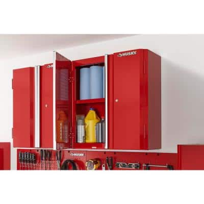 Ready-to-Assemble 23-Gauge Steel Wall Mounted Garage Cabinet in Red (28 in. W x 29 in. H x 12 in. D)