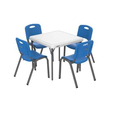 5-Piece Blue and White Children's Table and Chair Set