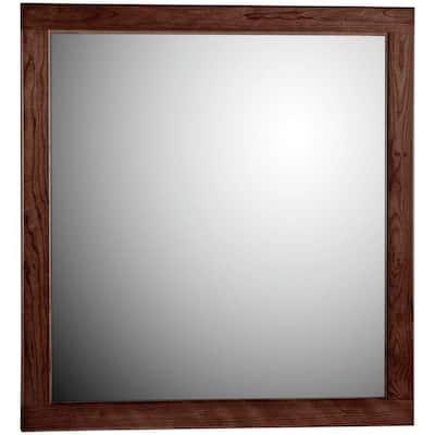 Ultraline 30 in. W x 32 in. H Framed Rectangular Bathroom Vanity Mirror in Dark alder finish