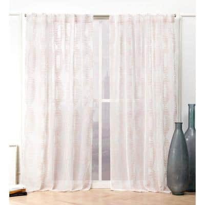 Blush Abstract Back Tab Sheer Curtain - 54 in. W x 84 in. L
