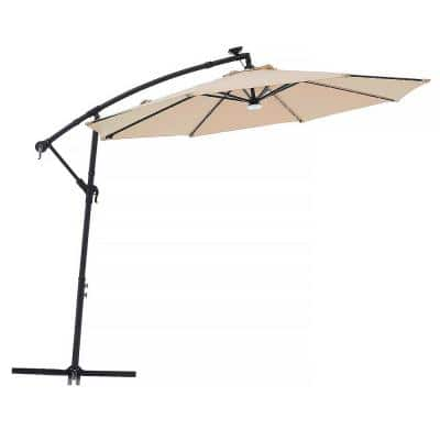 10 ft. Outdoor Cantilever Solar LED Patio Offset Hanging Umbrella in Beige