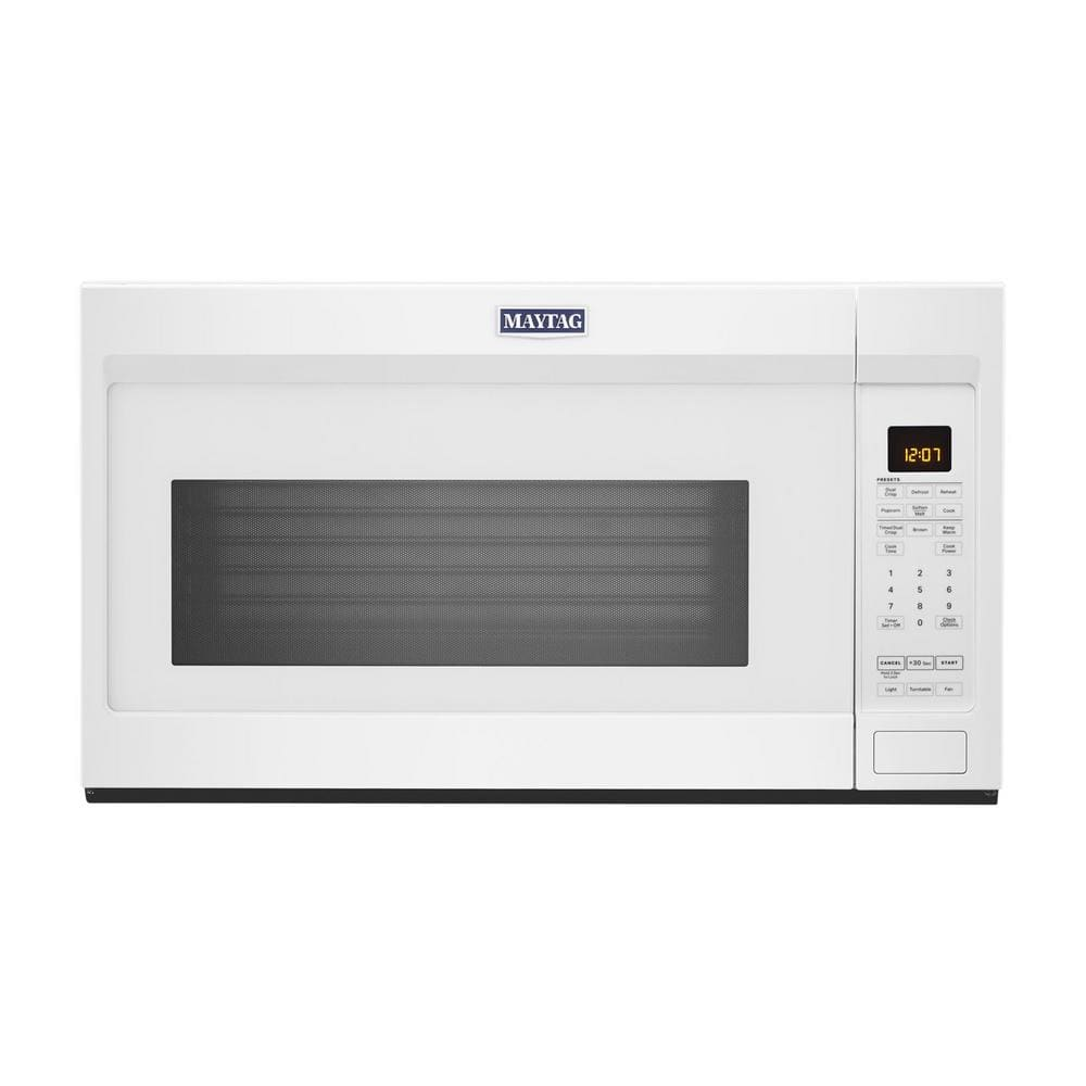 Maytag 1 9 Cu Ft Over The Range Microwave With Dual Crisp Function In White Mmv4207jw The Home Depot