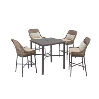 Beacon Park 5-Piece Brown Wicker Outdoor Patio High Dining Set with CushionGuard Toffee Trellis Tan Cushions