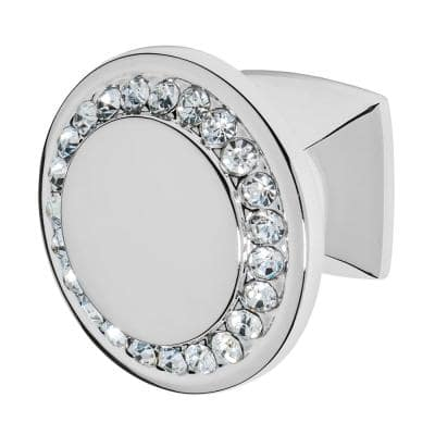 Isabel 1-1/4 in. Chrome with Clear Crystal Cabinet Knob