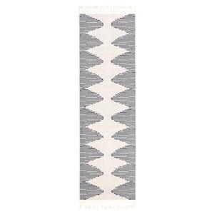 Loop-De-Loop Zipped Ivory Tribal Aztec Geometric 2 ft. 3 in. x 7 ft. 3 in. Flatweave Runner Rug