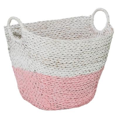 Large 21.5 in. x 18.5 in. Seagrass Storage Basket in Pink And White