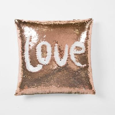 Mermaid Sequins Blush/White Single 16 in. x 16 in. Decorative Pillow
