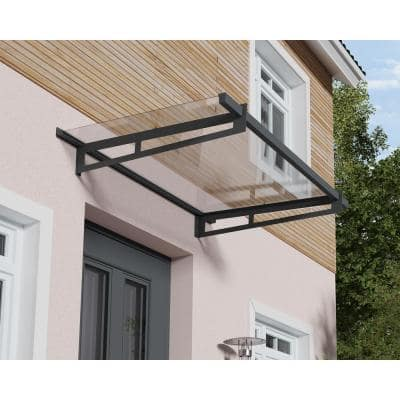 Bremen 3 ft. x 7 ft. Gray/Clear Door and Window Awning