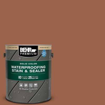 1 gal. #SC-122 Redwood Naturaltone Solid Color Waterproofing Exterior Wood Stain and Sealer