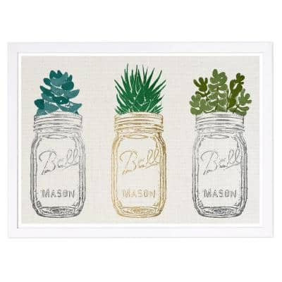 Mason Jars and Succulents' Framed Nature Art Print 13 in. x 19 in.