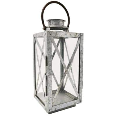 14 in. H Galvanized Metal And Glass Lantern
