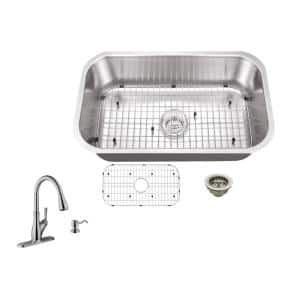 All-In-One Undermount 18-Gauge Stainless Steel 29-3/4 in. 0-Hole Single Bowl Kitchen Sink with Gooseneck Faucet