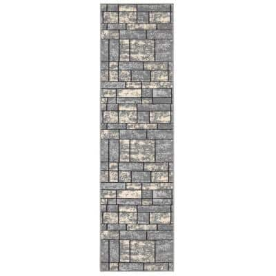 Ottohome Collection Contemporary Boxes Design Gray 2 ft. x 7 ft. Runner Rug