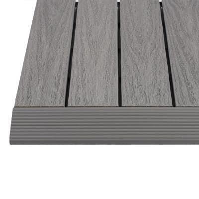 1/6 ft. x 1 ft. Quick Deck Composite Deck Tile Straight Fascia in Westminster Gray (4-Pieces/Box)