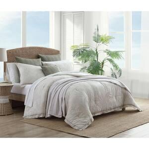 Abalone 3-Piece Grey Floral Cotton Queen Comforter Set