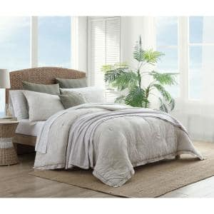 Abalone 3-Piece Gray Floral Cotton King Comforter Set