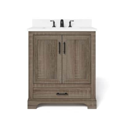 Kendall 30 in. W Bath Vanity in Distressed Oak with Engineered Stone Vanity Top in White with White Basin