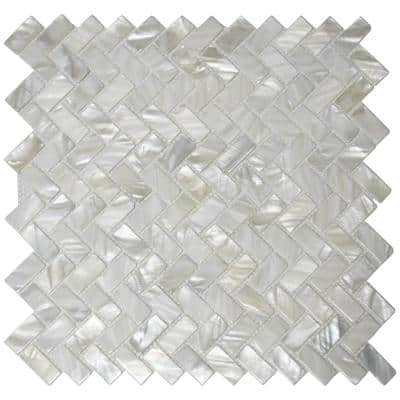 Herringbone Subway White 11.6 in. x 12.1 in. Natural Sealshell Mosaic Tile Mother of Pearl (9.5 sq. ft./Case)