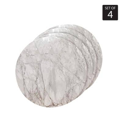 """Marble Cork 15 in. x 15"""" In. Grays and Silver Cork Round Placemats Set of 4"""