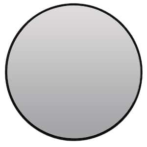 24 in. Adelina Circle Framed Black Wall Mirror
