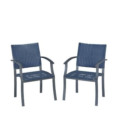 Stone Veneer Black Weave Patio Dining Chair (2-Pack)