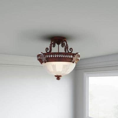 Bercello Estates 15 in. 2-Light Volterra Bronze Semi-Flush Mount with Etched Glass Shade