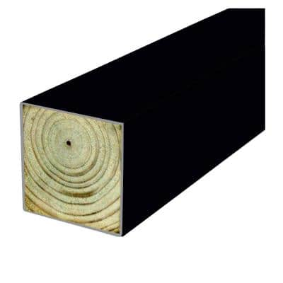 4 in. x 4 in. x 8 ft. Polymer Coated Black Pressure-Treated SYP Multi-Purpose Black Fence Post