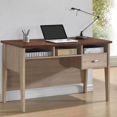 39.37 in. White/Natural Rectangular 1 -Drawer Writing Desk with Shelves