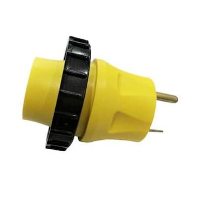 RV 30 Amp 3-Prong Plug TT-30P to 30 Amp RV/Marine Shore Power Locking L5-30R Outlet Splitter Adapter(TT-30P to L5-30R)