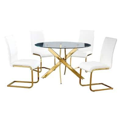 Trinity White Modern Dining Set in Gold (5-piece)