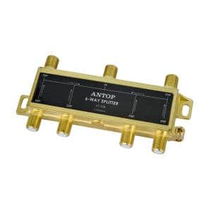Coaxial Splitter 6-Way 2GHz 5-2050MHz Low Loss RF for TV Satellite Cable All Port DC Power