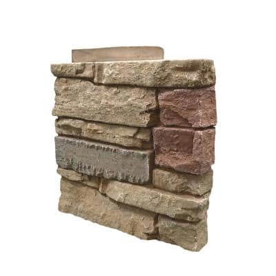 Stacked Stone Desert Sunrise 12 in. x 1.375 in. x 12 in. Faux Stone Siding Right Corner Panel