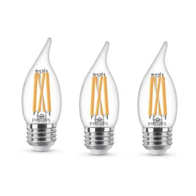 75-Watt Equivalent BA11 Dimmable Warm Glow Dimming Effect LED Candle Light Bulb Bent Tip E26 Soft White (2700K) (3-Pack)