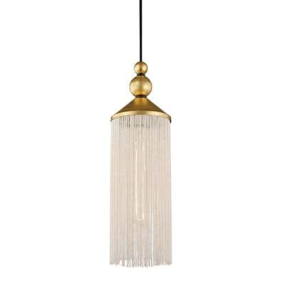 Scarlett 1-Light Gold Leaf/White Pendant