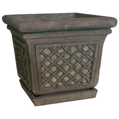 24 in. Sq. in Granite Stone Square Lattice Pot