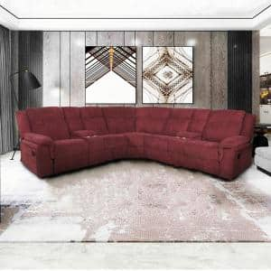 3 Piece 108.25 in. Wine Red Velvet 5 Seats Symmetrical Mannual Motion Sofa Reclining Sectionals with Cup Holders