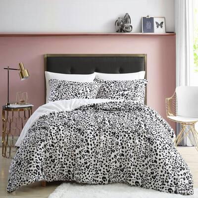 Water Leopard Reversible 3-Piece Beige Animal Print Microfiber Full/Queen Comforter Set