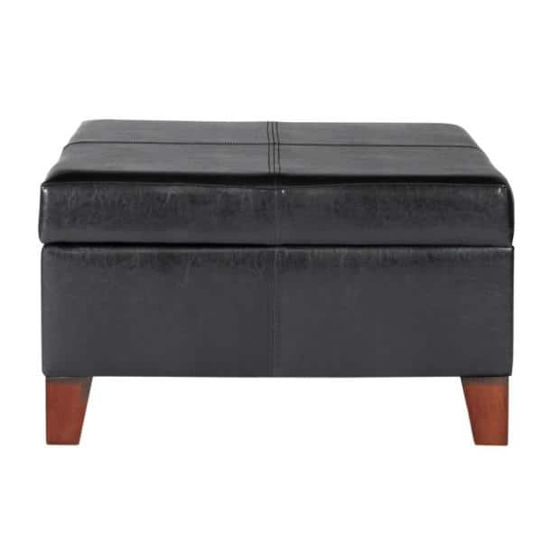 Homepop Large Black Faux Leather, Black Leather Ottoman With Storage