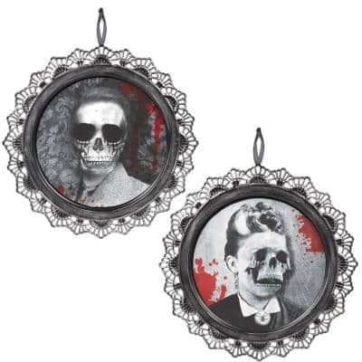 12 in. Gray Halloween Portrait Sign (2-Pack)