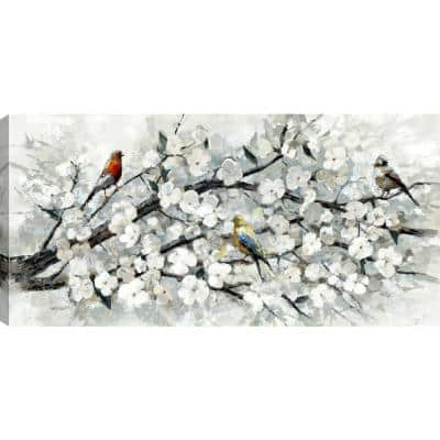 24 in. x 48 in. White Blossom with Birds Canvas Wall Art