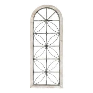 Distressed White Metal and Wood Window Panel
