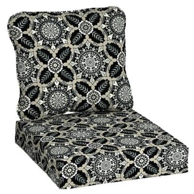 24 in. x 22 in. Black Tile Deep Seating Outdoor Lounge Chair Cushion