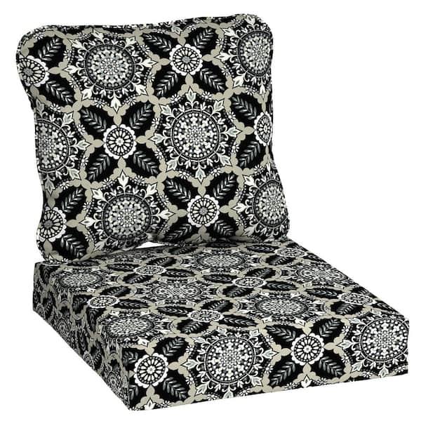 Hampton Bay 24 In X 22 Black Tile, Deep Seat Patio Cushions